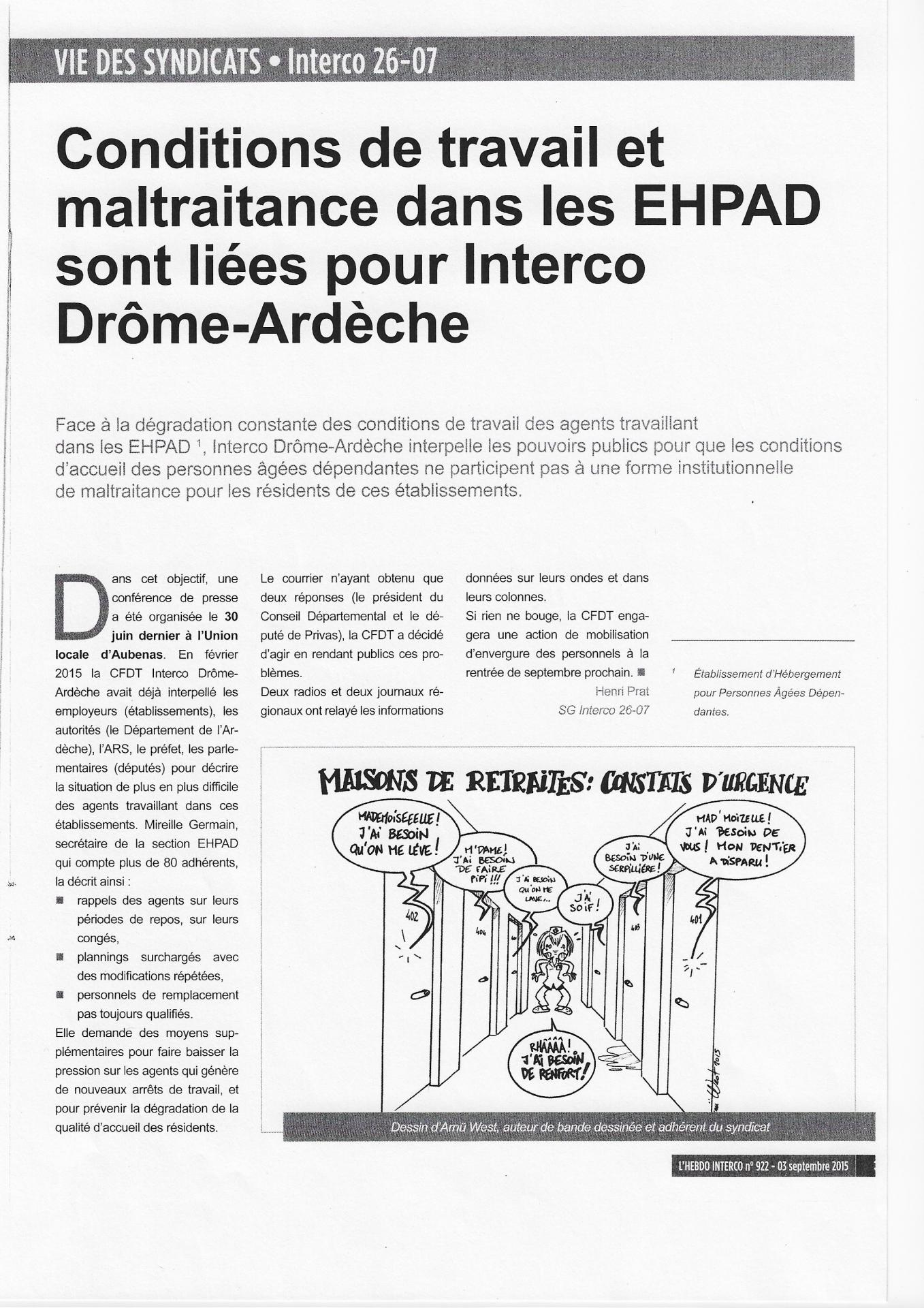 Condition travail ehpad cfdt